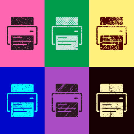 printer and paper. Pop art style. Scratched icons on 6 colour backgrounds. Seamless pattern