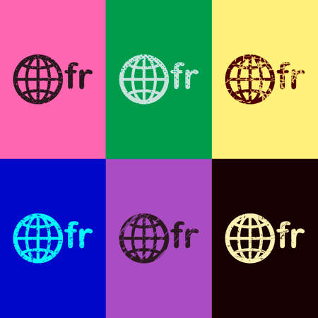 domain of France, globe and fr. Pop art style. Scratched icons on 6 colour backgrounds. Seamless pattern