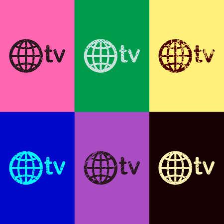 dominio para medios y television, globo y tv. Estilo pop art. Iconos rayados sobre fondos de 6 colores. Patrón sin costuras Ilustración de vector