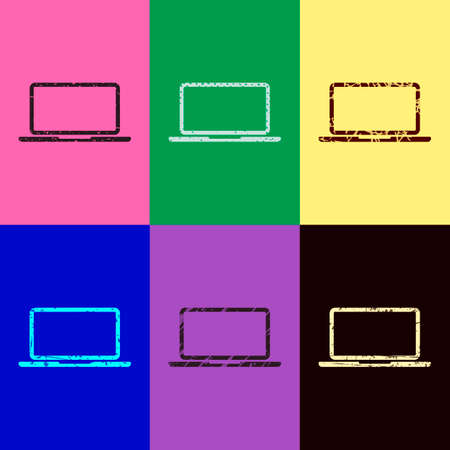 Laptop or notebook computer icon. Pop art style. Scratched icons on 6 colour backgrounds. Seamless pattern
