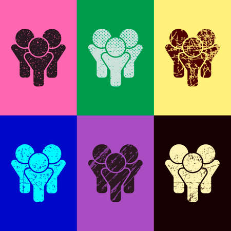 Team Group Icon Pop Art Style Scratched Icons On 6 Colour Backgrounds
