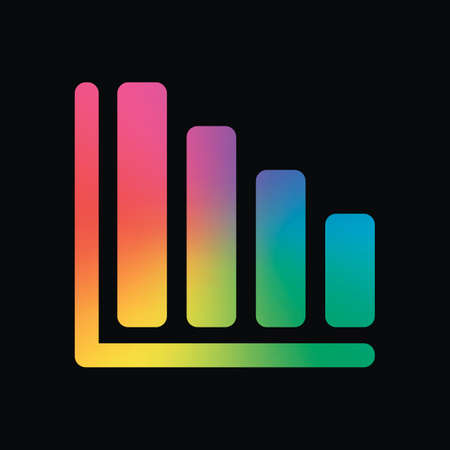 Declining graph line icon. Rainbow color and dark background Illustration