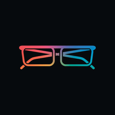 eyeglasses icon. Rainbow color and dark background