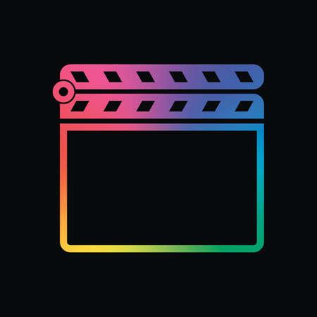 Film klap bord bioscoop pictogram sluiten. Regenboogkleur en donkere achtergrond