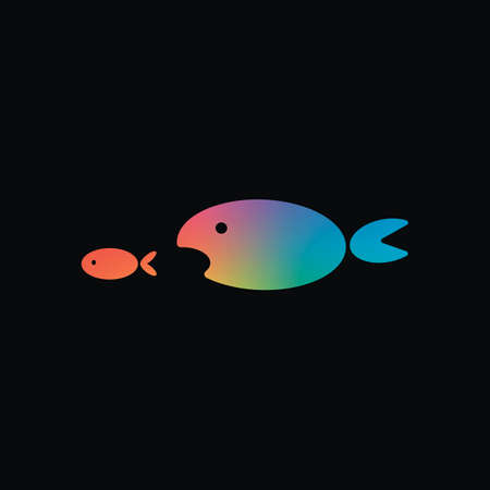 fish eating fist. Rainbow color and dark background Vectores