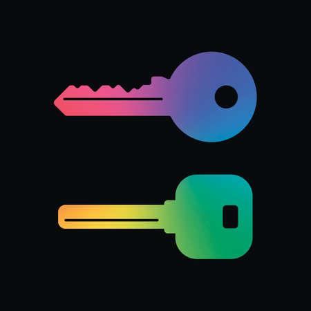keys icons set. Rainbow color and dark background