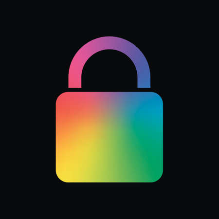 lock icon. Rainbow color and dark background 일러스트