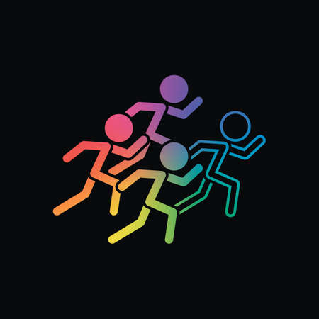 running people. team with leader. Rainbow color and dark background