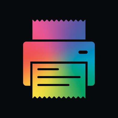 impresora, recibo, icono simple. Color del arco iris y fondo oscuro Ilustración de vector