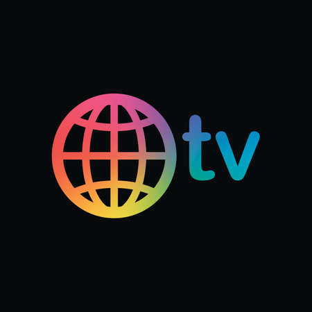 domain for media and television, globe and tv. Rainbow color and dark background