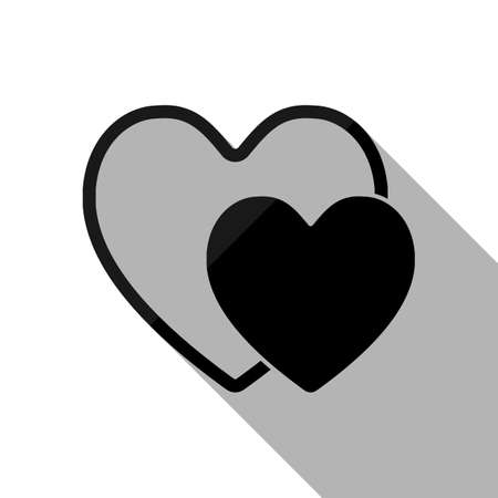 2 hearts. Simple icon. Black object with long shadow on white background