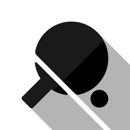 Ping pong icon. Black object with long shadow on white background Illustration