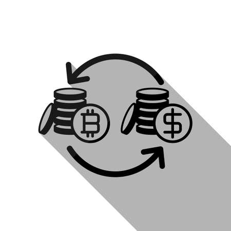 change bitcoin icon. Black object with long shadow on white background