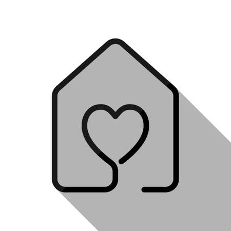house with heart icon. line style. Black object with long shadow on white background Ilustração