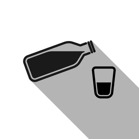bottle of water with bubbles and glass cup. simple icon. Black object with long shadow on white background