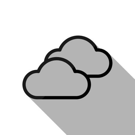 Mostly cloudy icon. Simple linear icon with thin outline. Black object with long shadow on white background Ilustrace