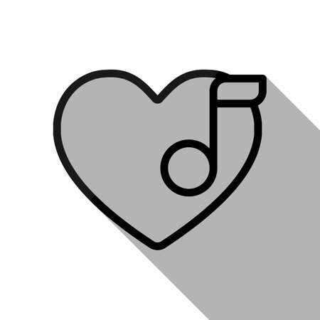 Heard and note, Favourite music. Linear icon with thin outline. Black object with long shadow on white background