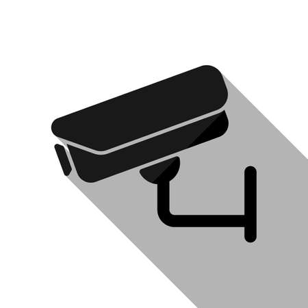 Security camera. Technology icon. Black object with long shadow on white background
