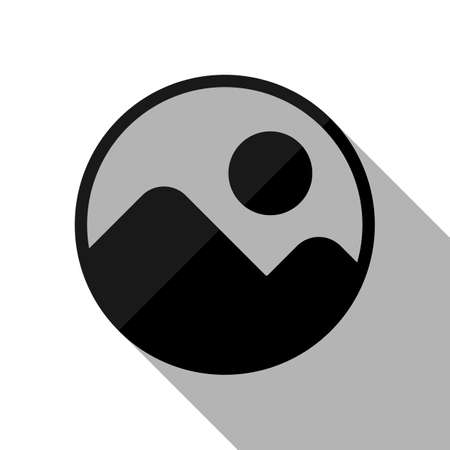 Simple picture icon. Black object with long shadow on white background