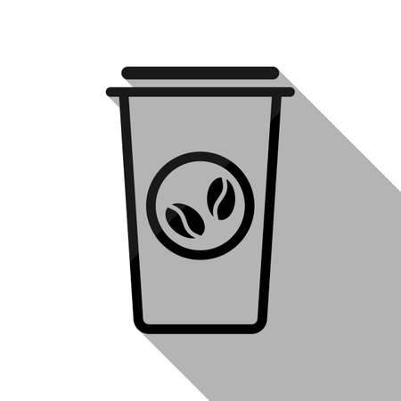 Coffee cup, coffee to go. Simple linear icon, thin outline. Black object with long shadow on white background