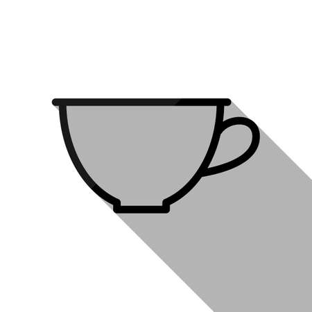 Simple cup of coffee or tea. Linear icon, thin outline. Black object with long shadow on white background