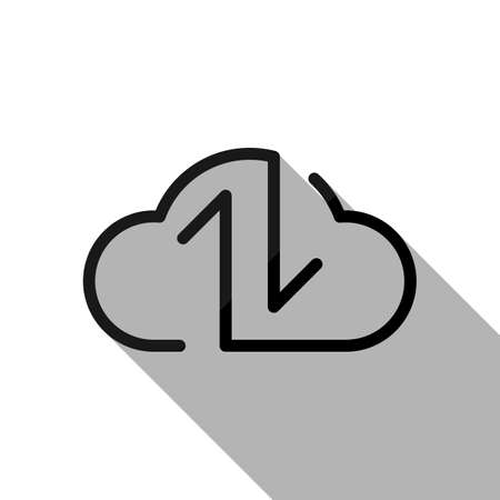 Data cloud icon. Backup, restore. Upload, download. Up and Down arrows. Linear, thin outline. Black object with long shadow on white background