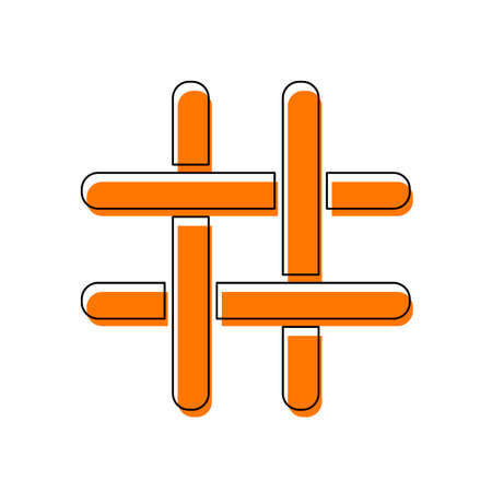 Hashtag icon. Isolated icon consisting of black thin contour and orange moved filling on different layers. White background Vecteurs