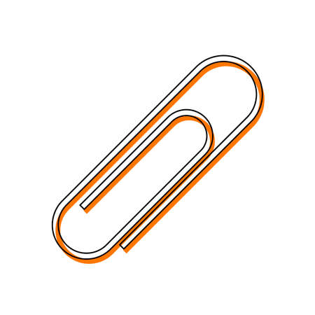 Paper clip icon. Isolated icon consisting of black thin contour and orange moved filling on different layers. White background