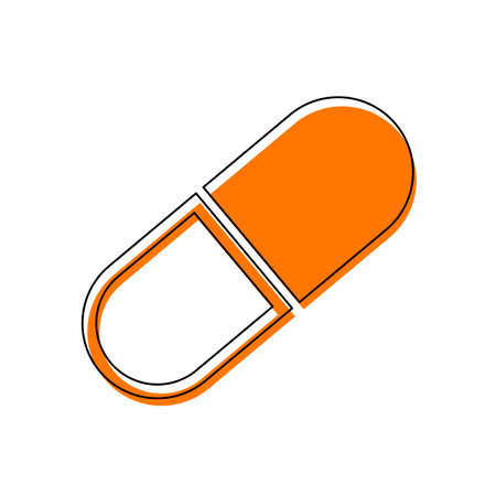 tablet icon. Isolated icon consisting of black thin contour and orange moved filling on different layers. White background