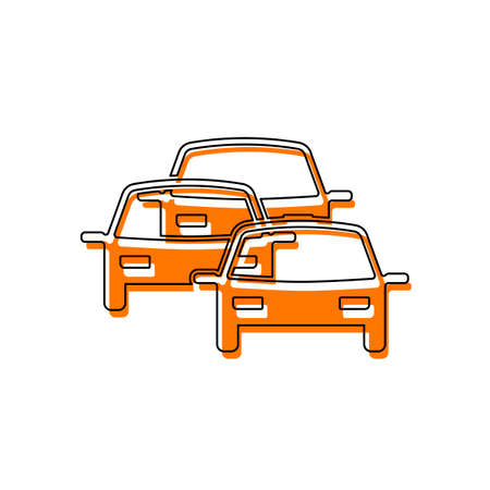 traffic jam icon. Isolated icon consisting of black thin contour and orange moved filling on different layers. White background