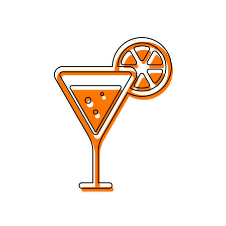 cocktail with lemon slice icon. Isolated icon consisting of black thin contour and orange moved filling on different layers. White background