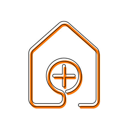 house with medical cross icon. line style. Isolated icon consisting of black thin contour and orange moved filling on different layers. White background Illustration