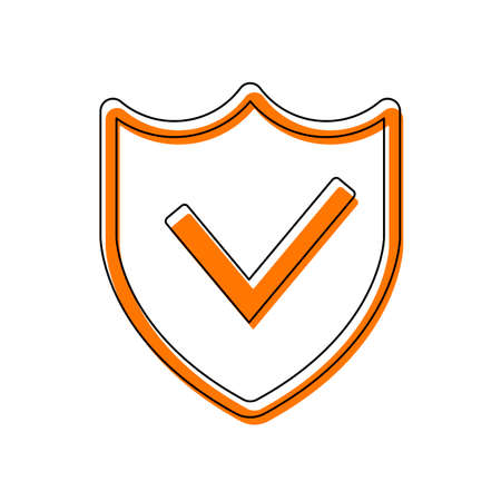 protection success. simple icon. Isolated icon consisting of black thin contour and orange moved filling on different layers. White background