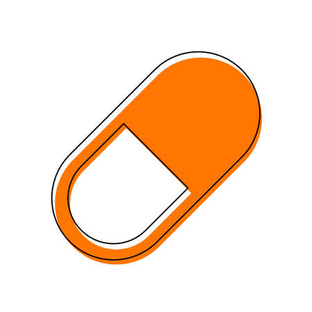 simple symbol of pill or vitamin. Isolated icon consisting of black thin contour and orange moved filling on different layers. White background