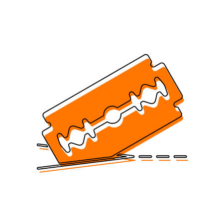 razor blade and cutting line. simple icon. Isolated icon consisting of black thin contour and orange moved filling on different layers. White background