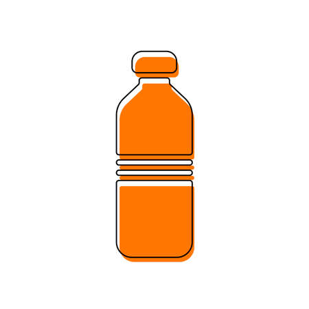 bottle of water, simple icon. Isolated icon consisting of black thin contour and orange moved filling on different layers. White background