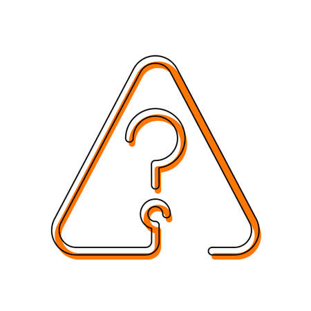 Question mark in warning triangle. Linear icon with thin outline. One line style. Isolated icon consisting of black thin contour and orange moved filling on different layers. White background
