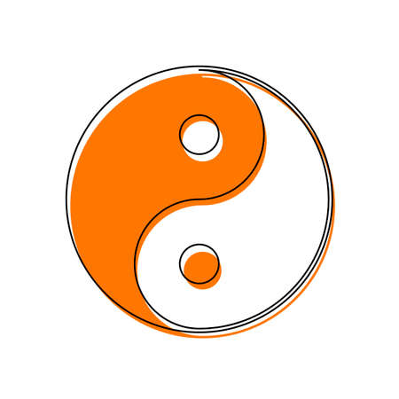 yin yan symbol. Isolated icon consisting of black thin contour and orange moved filling on different layers. White background Vector Illustration