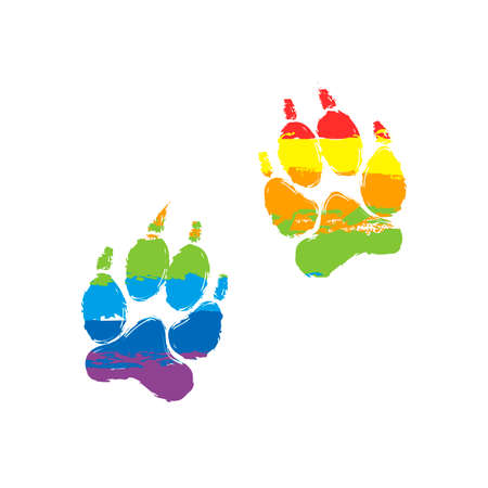 icono de huellas de animales. Signo de dibujo con estilo LGBT, siete colores de arco iris rojo, naranja, amarillo, verde, azul, índigo, violeta Ilustración de vector
