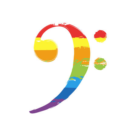 Bass Clef icon. Drawing sign with LGBT style, seven colors of rainbow red, orange, yellow, green, blue, indigo, violet