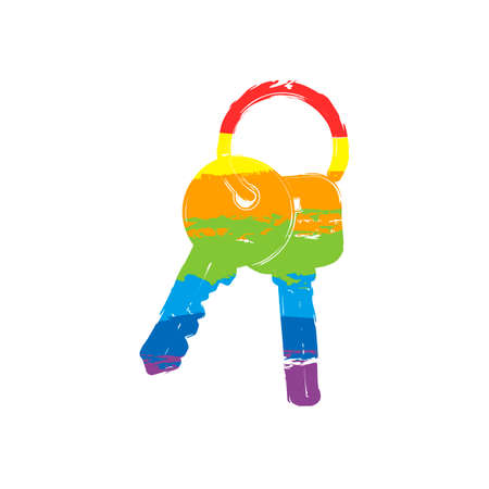 keys on the ring icon. Drawing sign with LGBT style, seven colors of rainbow red, orange, yellow, green, blue, indigo, violet