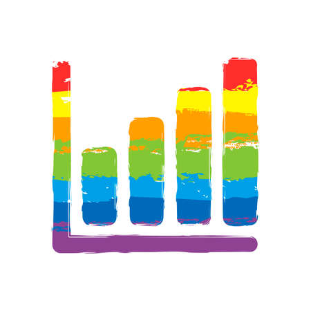Growing graph line icon. Drawing sign with LGBT style, seven colors of rainbow red, orange, yellow, green, blue, indigo, violet