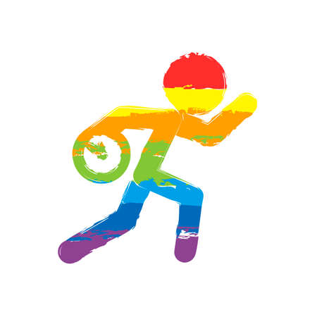 Running man with clock. Simple icon. To be late. An unpleasant situation. Drawing sign with LGBT style, seven colors of rainbow red, orange, yellow, green, blue, indigo, violet