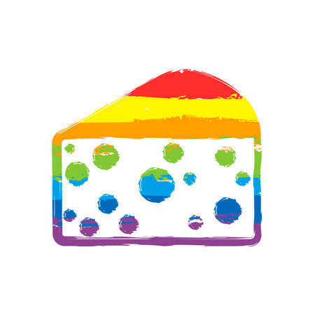 piece of cheese icon. Drawing sign with LGBT style, seven colors of rainbow red, orange, yellow, green, blue, indigo, violet Иллюстрация
