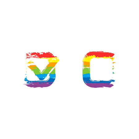 Checklist sign icon. Drawing sign with LGBT style, seven colors of rainbow red, orange, yellow, green, blue, indigo, violet