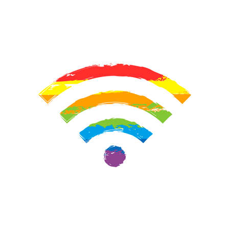 wi-fi icon. Drawing sign with LGBT style, seven colors of rainbow red, orange, yellow, green, blue, indigo, violet