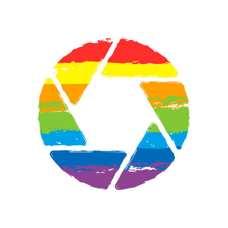 camera objective. simple silhouette. Drawing sign with LGBT style, seven colors of rainbow (red, orange, yellow, green, blue, indigo, violet 向量圖像