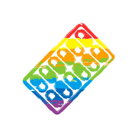Pack Pills Icon. Drawing sign with LGBT style, seven colors of rainbow red, orange, yellow, green, blue, indigo, violet