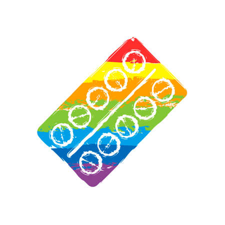 Pack Pills Icon. Drawing sign with LGBT style, seven colors of rainbow red, orange, yellow, green, blue, indigo, violet Vettoriali