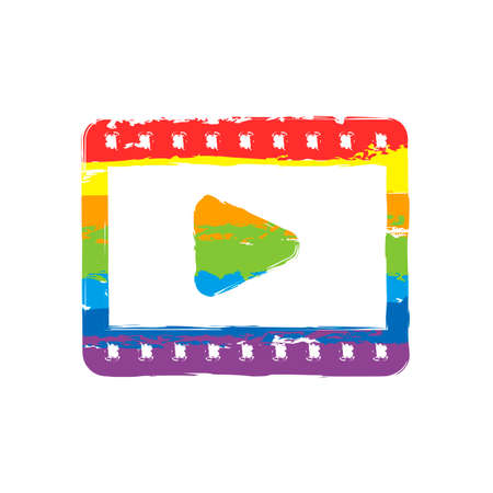 video icon. Drawing sign with LGBT style, seven colors of rainbow red, orange, yellow, green, blue, indigo, violet